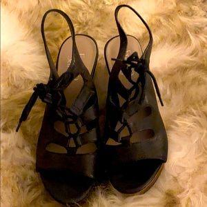 Franco Sarto lace up, cork heel wedges